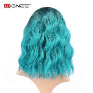 "Image 2 - Wignee Ombre שחור כדי שמיים כחול פאת צד חלק 14 ""סינטטי פאות עבור נשים מים גל פאת קוספליי הכחול חום עמיד קצר שיער"
