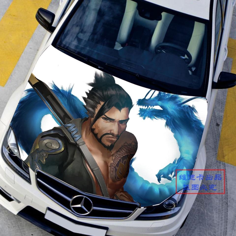 Car sticker custom malaysia - Custom Made Car Accessories Japanese Car Stickers Decals 3d Anime Game Overwatch Hanzo Hood Sticker Auto