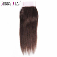 Shining Star 100 Human Hair Lace Closure Color 4 Free Part Peruvian Straight Hair Closure 120
