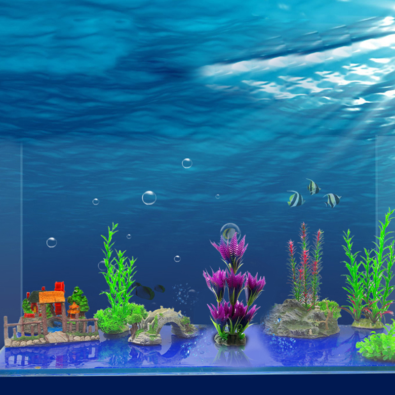 Newest Plastic Aquarium Plants Purple Blue Coconut Trees Gr Fish Tank Decor 27 9 18 Cm In Decorations From Home Garden On Aliexpress Alibaba