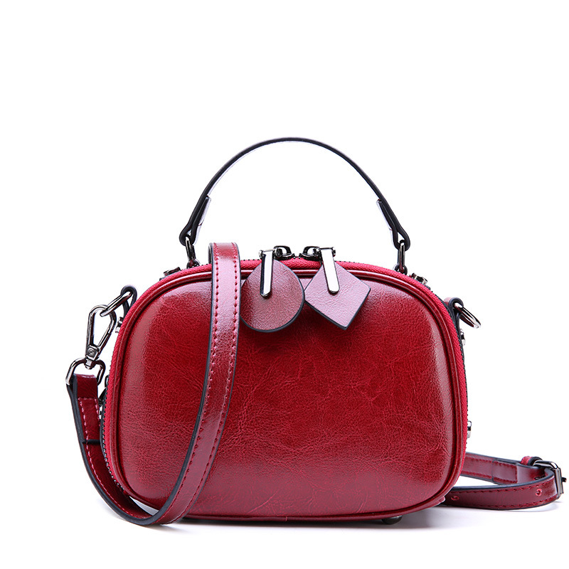 2019 Fashion Ladies Small Round Shoulder Bag Large Capacity Double Zipper Crossbody Bag Oil Wax Cowhide Easy Women Handbag2019 Fashion Ladies Small Round Shoulder Bag Large Capacity Double Zipper Crossbody Bag Oil Wax Cowhide Easy Women Handbag