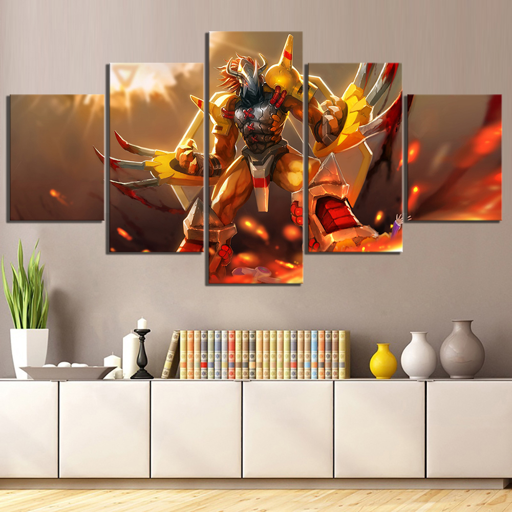 5 Pcs Greymon Digital Monster Poster Wall Sticker Canvas Paintings for Wall Decor HD Cartoon Picture Digimon Anime Poster image