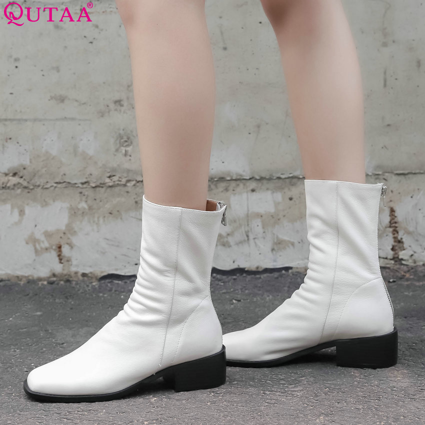 QUTAA 2019 Women Mid Calf Boots Zipper Women Shoes Winter Boots Square Toe Fashion Black Elegant Women Boots Size 34-40 nancyjayjii velvet women fashion winter mid calf boots black