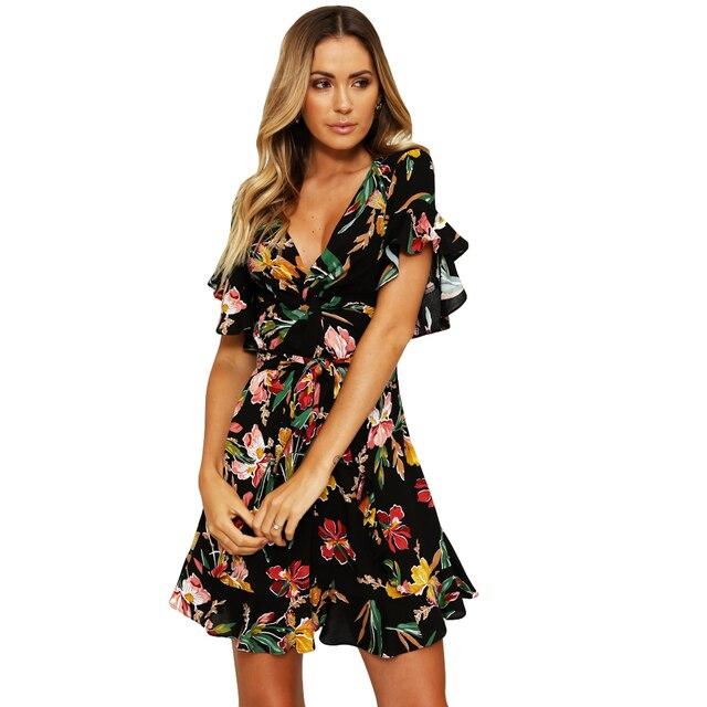 203908d44b New Summer Floral Mini Dress Women V Neck Flare Sleeve Elastic Waist Casual  A-Lined Ladies vestidos 2019 Boho Beach Dress Black