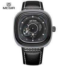 MEGIR ML3012G новая мода механические часы мужчины повседневная водонепроницаемые наручные часы человек кожа хронограф наручные часы для мужчин час