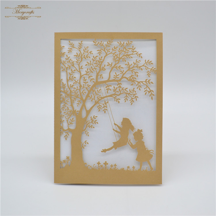 sample tree and swing laser cut black baptism birthday invitation card