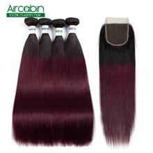 Straight Hair Bundles with Closure 1B 99J Brazilian Hair Weave Bundles Human Hair Extensions 4 Bundles With Closure Non Remy