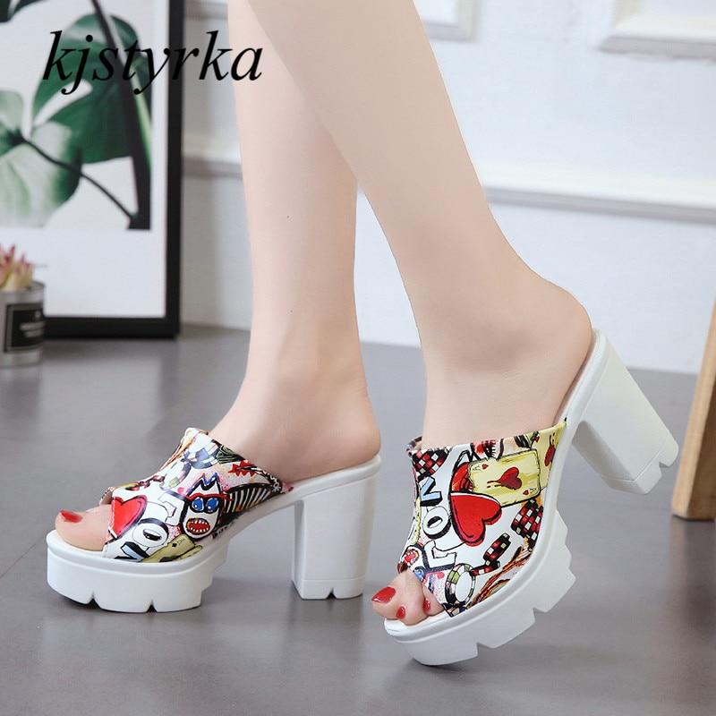 Kjstyrka 2018 г. фирменный дизайн женские летние босоножки женская обувь супер Обувь на высоком каблуке 10 тапочки увеличить шлепанцы zapatos mujer