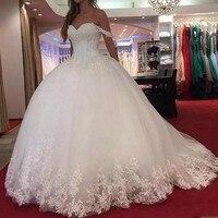 Индивидуальный заказ свадебные платья на шнуровке Дубай Braidl платья Vestido De Noiva аппликации Милая свадебное платье линии романтические