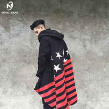 Novel ideas Shawl Autumn Warm Winter Jackets 2018 Men Hip hop long Stripes flag