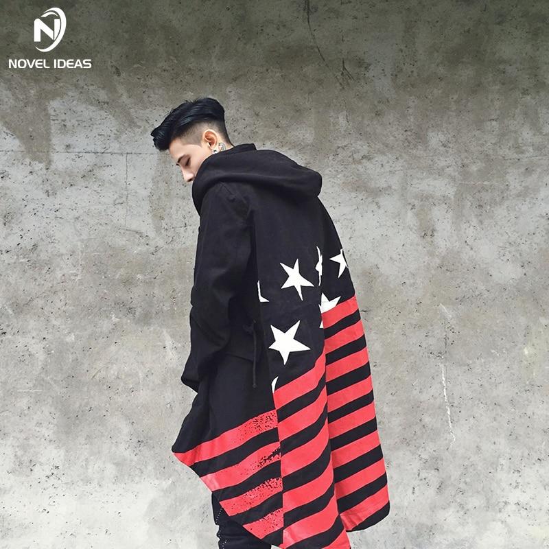 Mode Hommes veste Châle Automne Chaud D'hiver Vestes 2018 Hommes Hip hop longues Rayures drapeau Chapeaux Sweat À Capuche Coupe-Vent Manteau
