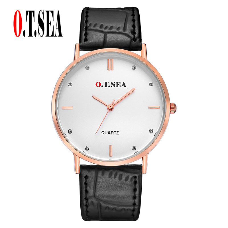 Luxury O.T.SEA Brand Leather Watches Men Women Ladies Lovers Fashion Crystal Dress Quartz Wristwatch 6688-4