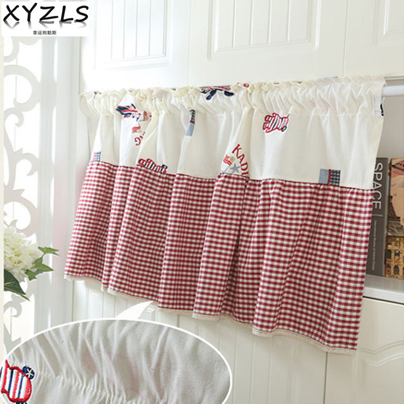 XYZLS Brand New High Quality Luxury Embroidered Blinds Kitchen Curtains  Half Curtain Cafe Short Panel Drape Door Curtain Valance
