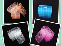 1PC 4 Colors Big Square Three Layers Removed Portable Clear PP Storage Box Jewelry Earring Case