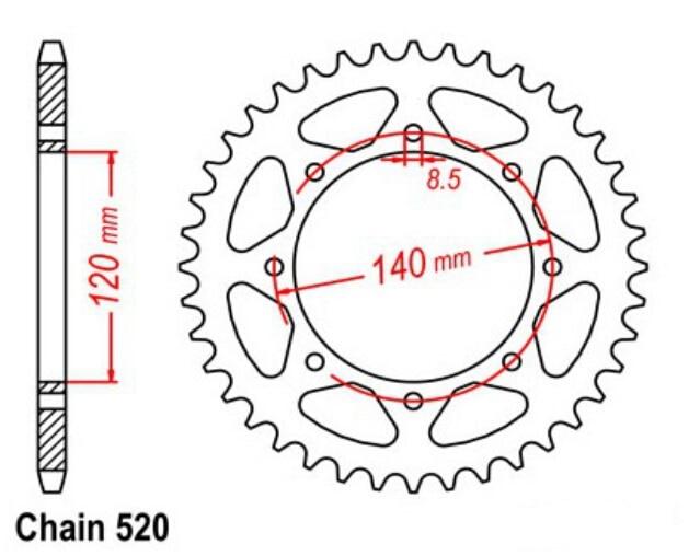 LOPOR 520 * 43 tandkædehjul Kawasaki KLR650 A4-A13 1999 - Motorcykel tilbehør og dele - Foto 2