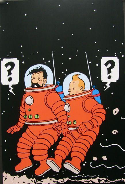 Space Mars Walk The Adventures Of Tintin In Tehran Poster Vintage