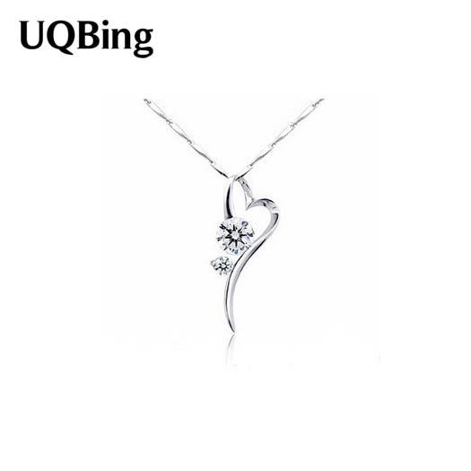 f50f709e98ae Envío Gratis 2017 mujeres joyería de plata esterlina ZIRCON corazón  Collares y colgantes pingente de plata
