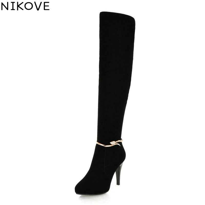 NIKOVE 2018 Women Boots Elegant Rhinestone Winter Boots Over The Knee Boots Zipper Thin High Heel Lady Fashion Boots Size 34-39 nikove 2018 women boots western style high heel over the knee boots round toe spring and autumn fashion ladies boots size 34 39
