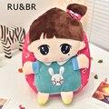 RU & BR Saco Mochila Rosa Menina Bonito Dos Desenhos Animados Do Bebê de Pelúcia Para Sacos de Escola Meninas Do Bebê infantil de Alta Qualidade de Idade Para 1-3 Anos