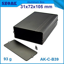 (10 pieces/lot) black anodizing extruded housing junction box for electronics heatsink case 31*72*105mm