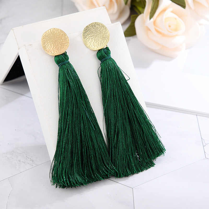 Bohemian Pearl Tassel Earrings Black gray Blue Red green Silk Fabric Long Drop Dangle Tassel Earrings For Women Jewelry Vintage
