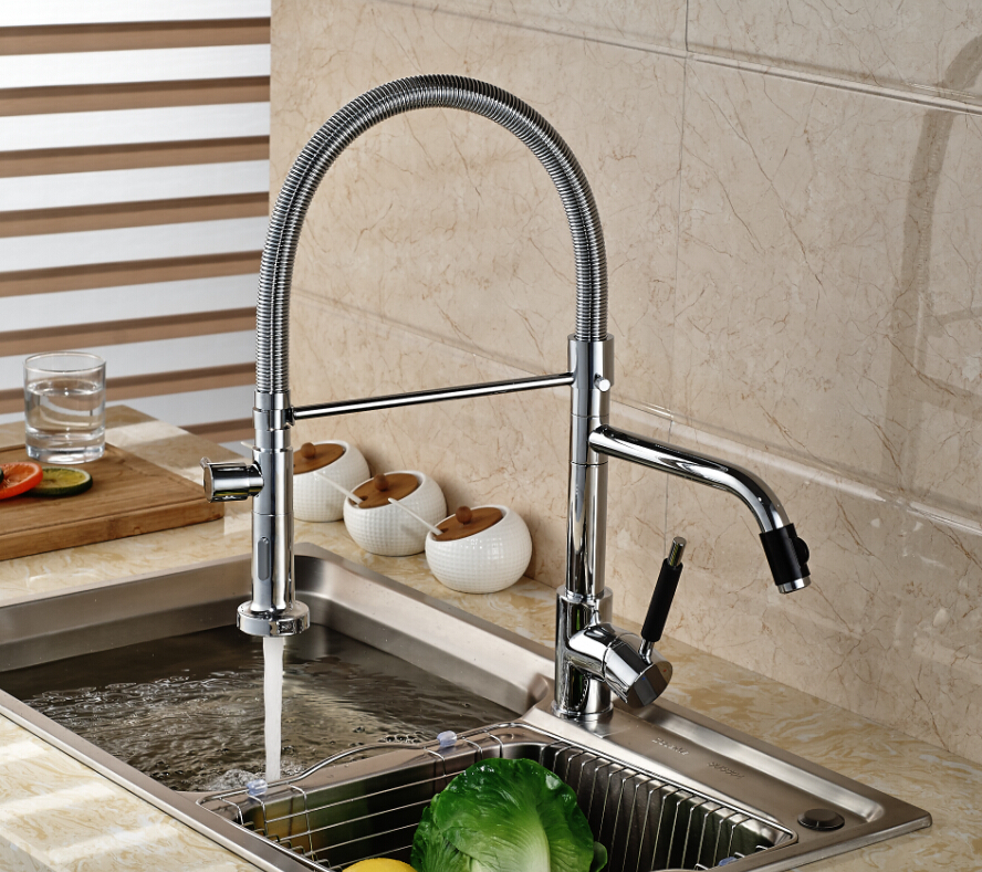 Chrome Brass Kitchen Faucet Double Sprayer Swivel Spout Spring Sink Mixer Tap Deck Mounted newly contemporary solid brass chrome finish arc spout kitchen vessel sink faucet thermostatic faucet mixer tap deck mounted
