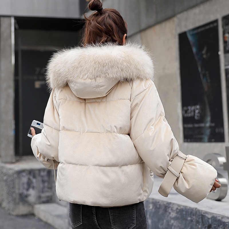 2019 новый дизайн, бархатная зимняя куртка для женщин, милая Женская куртка с капюшоном и меховым воротником, женская короткая парка, пальто, Mujer Invierno