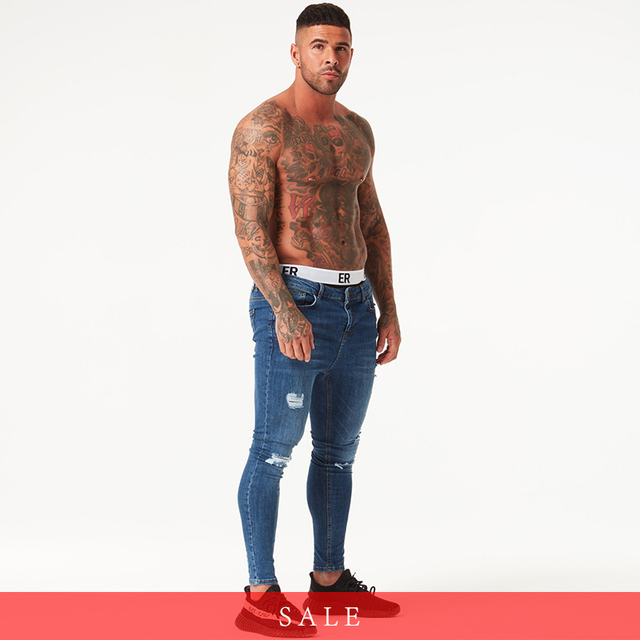 Blue ripped Jeans for Men Super Stretch Male Pant Distressed Fake Designer Brand men Jeans skinny fit Style Streetwear zm02