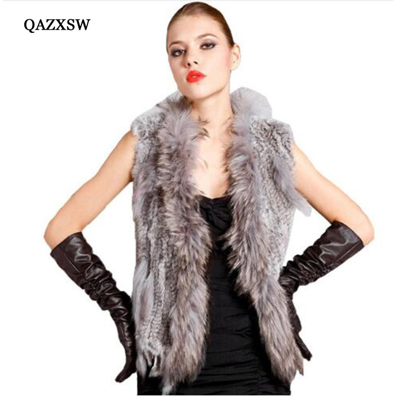 Ladies Genuine Knitted Rabbit Fur Vest Raccoon Fur Trimming Tassels Women Fur Natural Waistcoat Lady Gilet colete pele LJ869