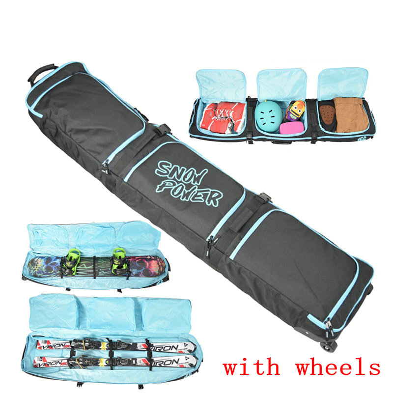 Big Monoboard snowboard bag large skiing protective pouch professional sport ski equip with wheel ski bag double board