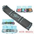 Große Monoboard snowboard tasche große skifahren schutz beutel professionelle sport ski auszustatten mit rad ski tasche doppel bord -