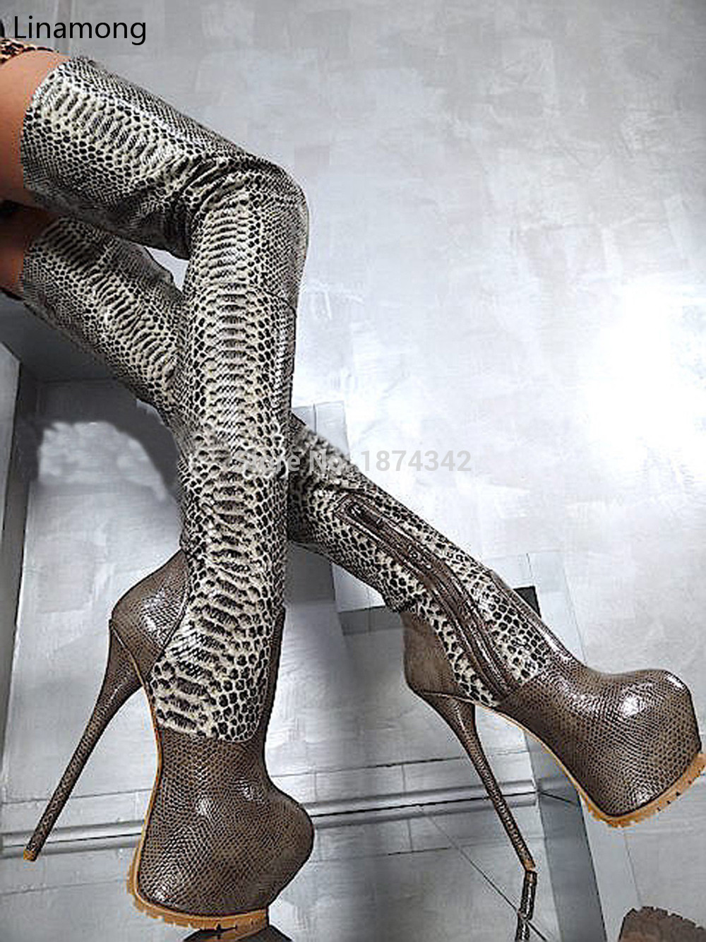 Top Quality Fashion Women Thigh High Boots Sexy Round Toe High Heel Platform Shoes Over The Knee Boots 16CM Ultra High Heels fashion women lace up high platform over knee boots round toe ultra high heel thigh high leather botas sexy stage shoes