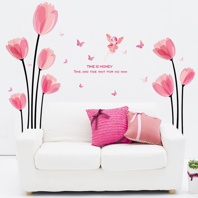 New Design Romantic Beautiful Pink Tulips Flower Fairy Home ...