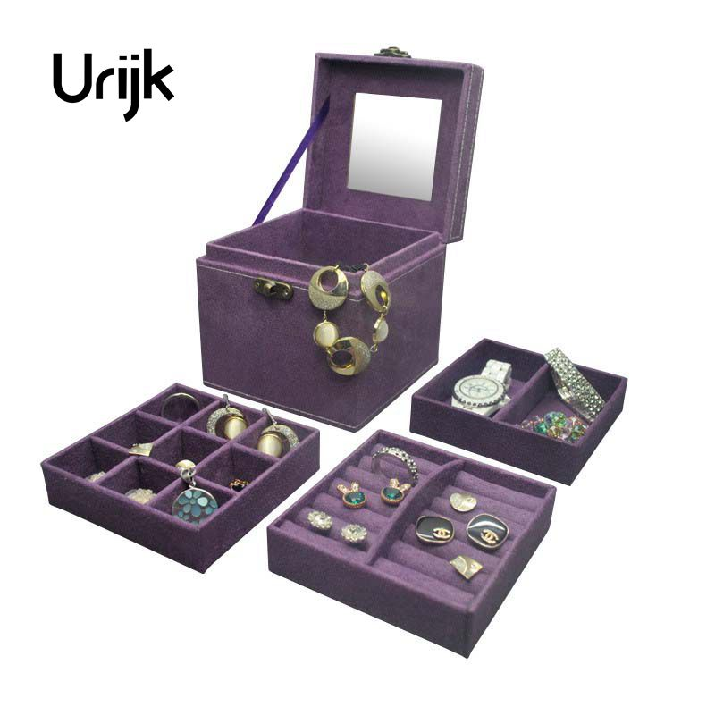 Urijk Makeup Carrying Case Casket Jewelry Organizer Princess Flannel Three Layer Gift Box Trinkets Storage Boxes Storage Display