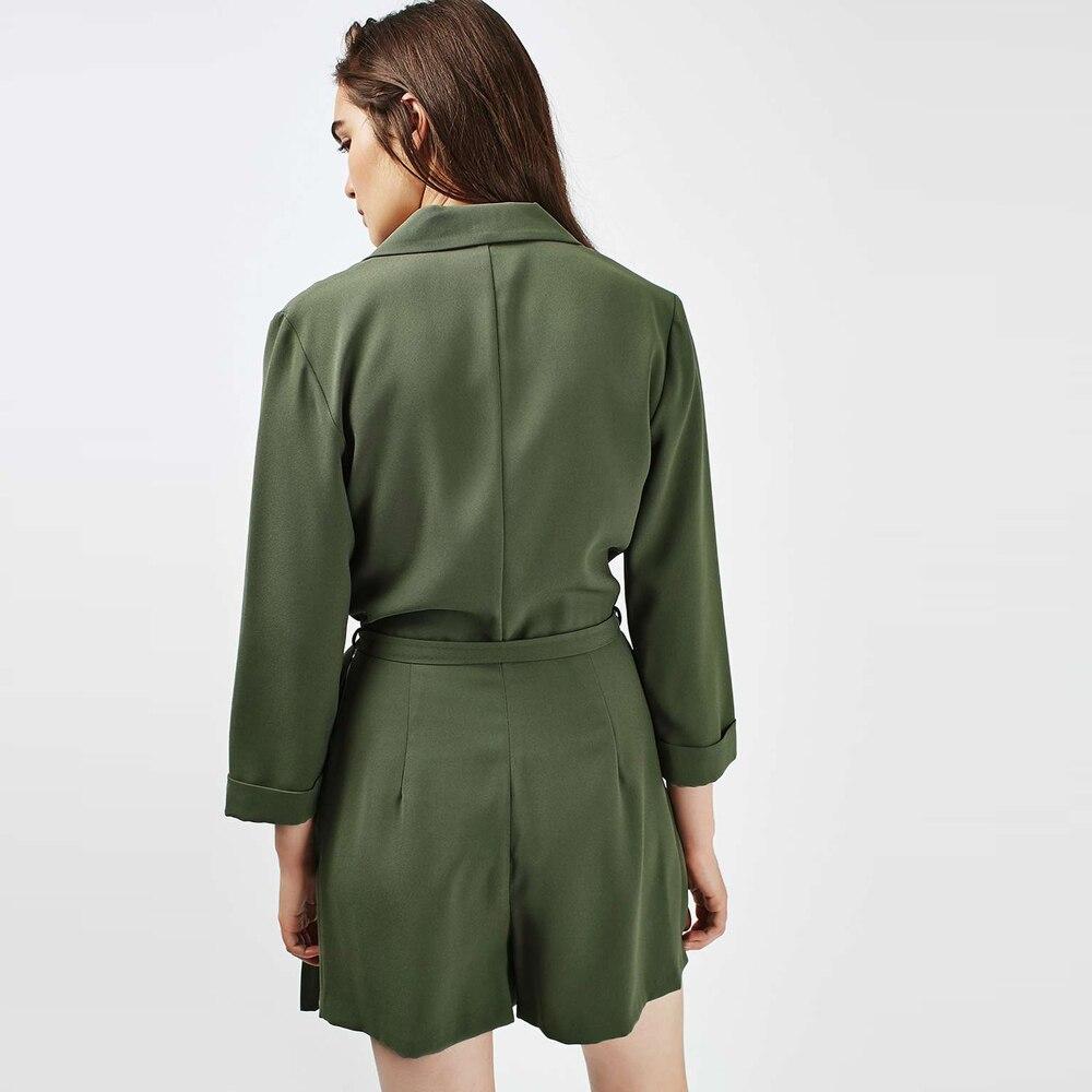 HDY Haoduoyi 2017 Fashion Women Romper Solid Green Long Sleeve Deep V Neck Playsuit Drawstring Elegant Streetwear Sexy Jumpsuit