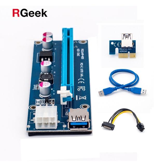 006C PC PCIe PCI-E PCI Express 1x a 16x De Riser Card USB 3.0 Cabo de dados SATA para IDE 6Pin Molex da fonte de Alimentação para Máquina Mineiro BTC