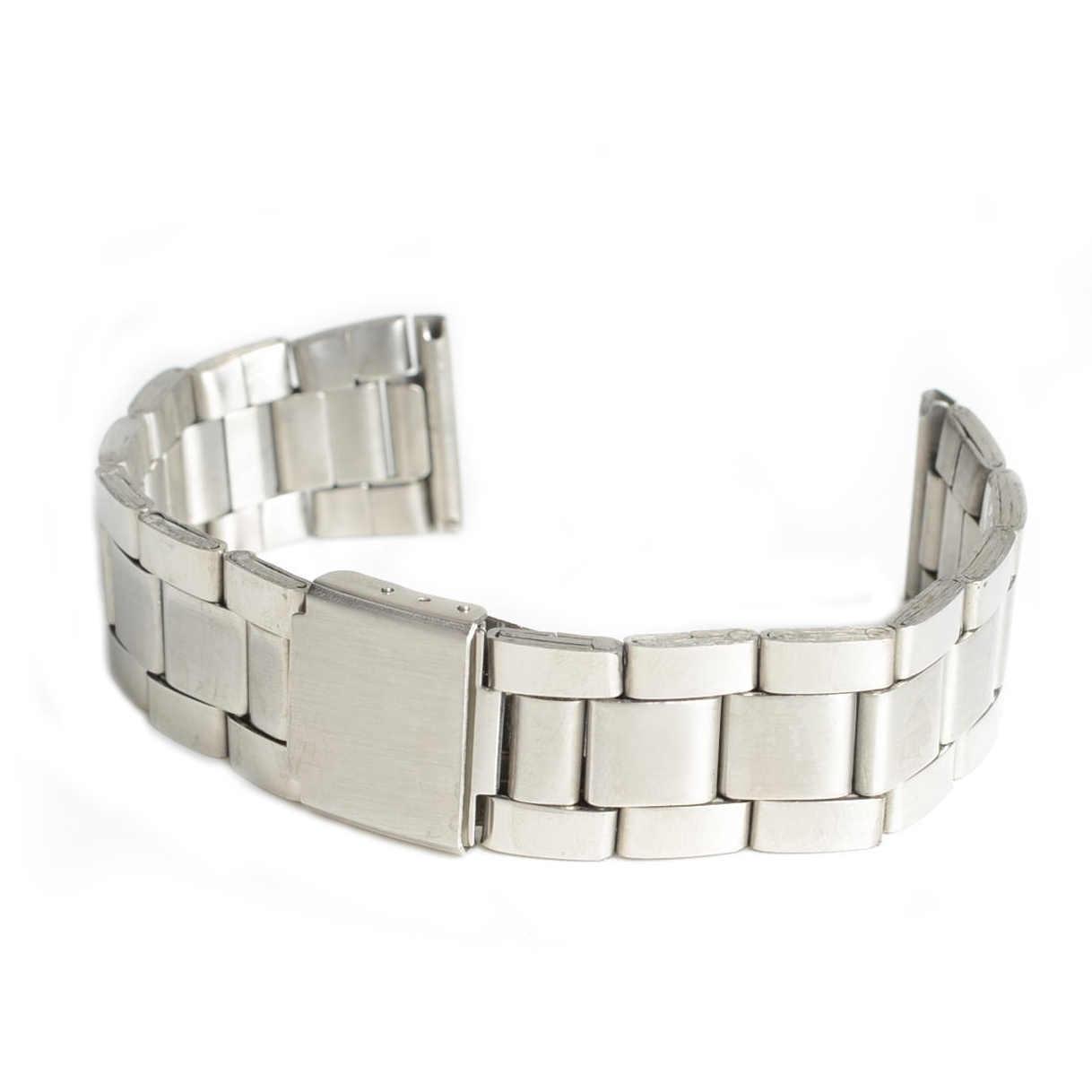 New Hotsale Men Women Silver Stainless Steel Watch Band Strap Bracelet Dress Watchbands 24mm