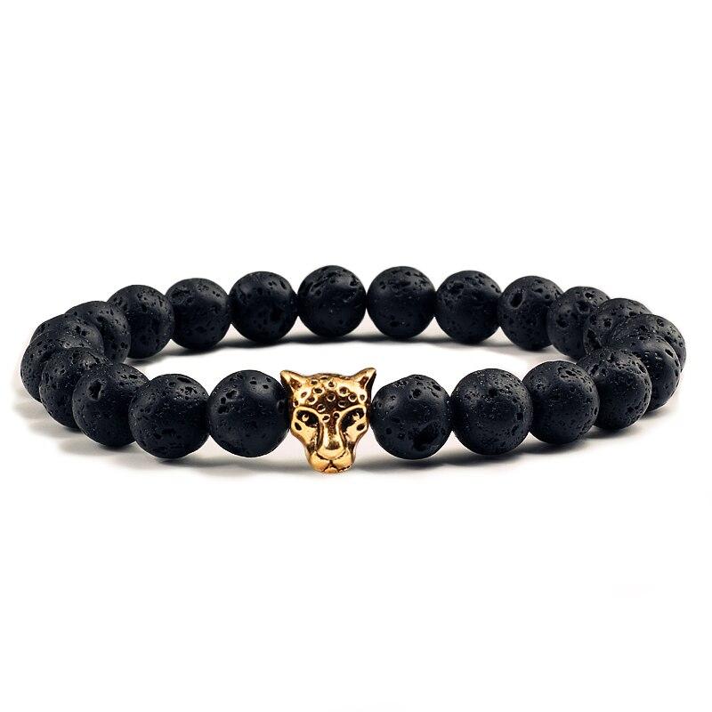 Hot Black Lava Matte Beads Bracelets for Men Gold Leopard Head Turquoises Natural Volcanic Stone Strand Bracelet Couple Jewelry men beaded bracelet red