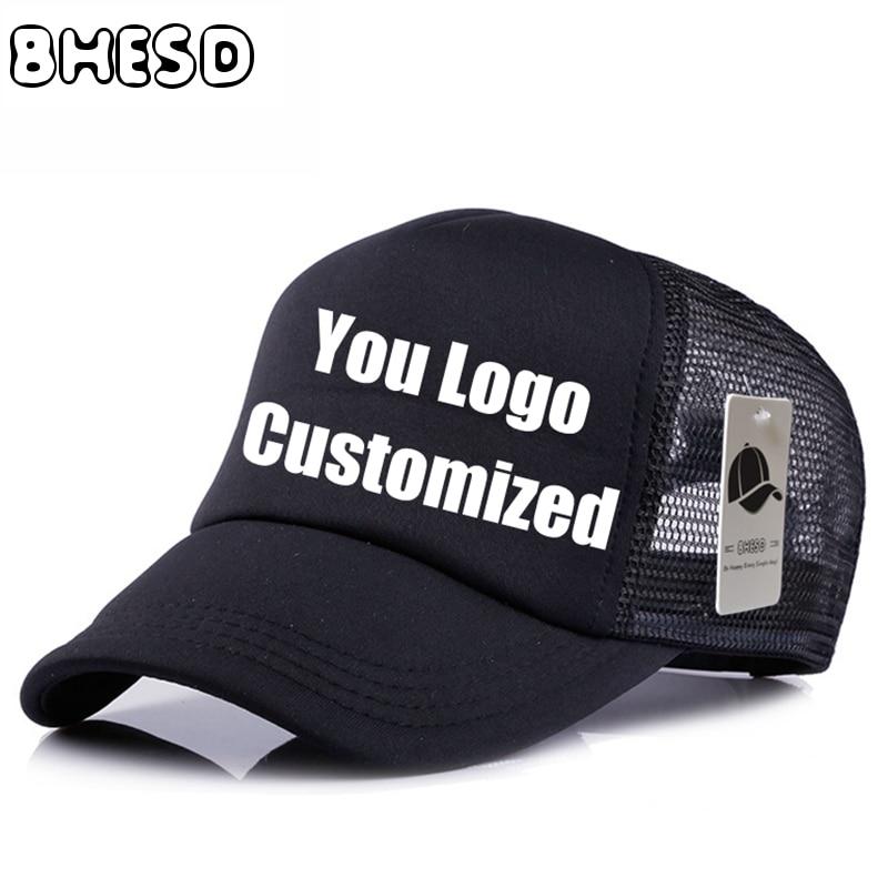10pcs/lot BHESD Custom Plain Mesh Baseball Cap Advertisement Hat  Personalized Logo Mesh Trucker Hats cap Gorras CasquetteJY-234 wool skullies cap hat 10pcs lot 2289