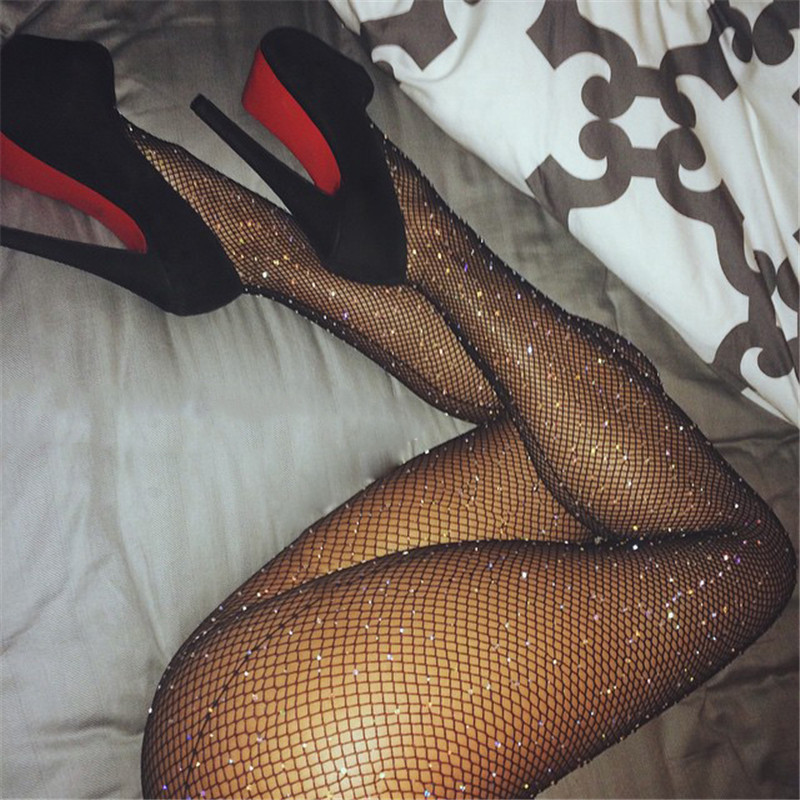 Top Quality Women Sexy Stockings Female Mesh Fishnet Pantyhose Women Tights Over Knee Stockings Bling Rhinestone Hosiery Meias