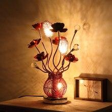 Свет таблицы декоративные Алюминий цветок Книги по искусству настольная лампа Спальня Свадьба комната привело кристалл настольная лампа гостиная стол свет световой стол для детей настольная лампа для детей
