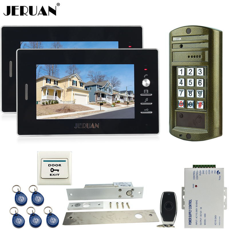 JERUAN 7`` Video Doorbell Door Phone Intercom System kit 2 Monitor+Metal Waterproof Access password keypad HD Mini Camera 1V2 jeruan home 7 inch video door phone intercom system kit new metal waterproof access password keypad hd mini camera 2 monitor