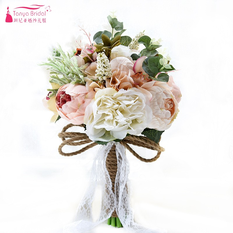 Country Style Artificial Wedding Bouquets For Brides casamen Lace Wedding Flowers Brooch Bouquets Bouquet De Mariage D520