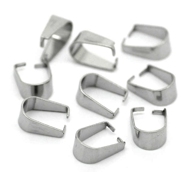 "DoreenBeads Stainless Steel Pendant Bails Clips & Pendant Clasps Silver Tone 10mm( 3/8"") x 8mm( 3/8""), 7 Pieces 2017 new"