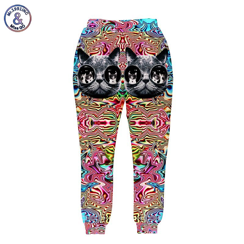Mr.1991INC Animals print men/women's 3d harem pant funny printing striped flower glasses cat 3 pockets long joggers