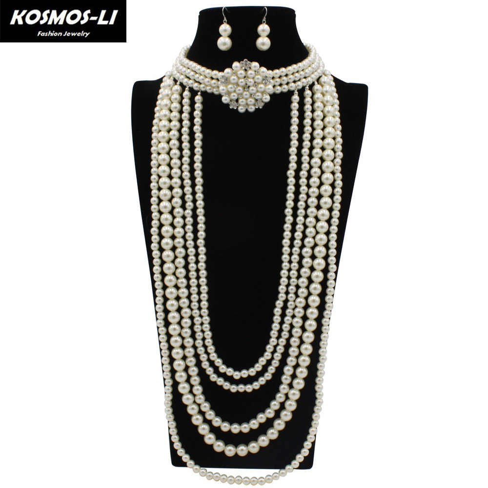 Pearl Statement Necklace With Earrings For Women Lady Multi Strand Layered Crystal Choker Necklaces African Beads Jewelry Set