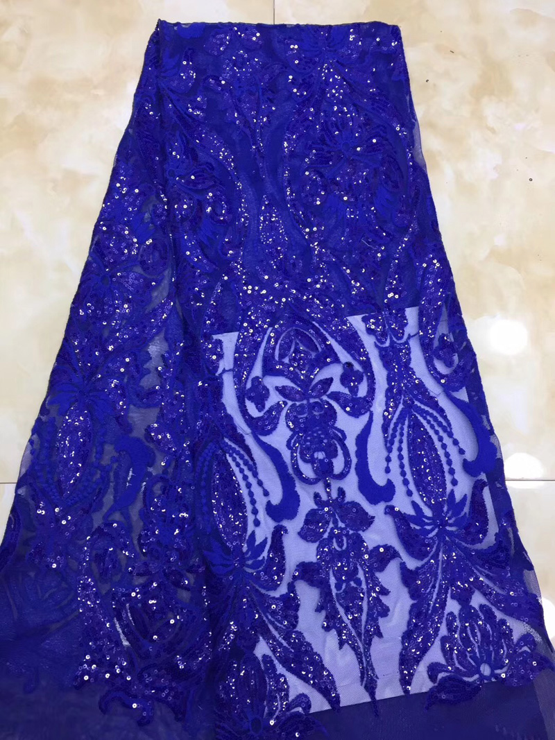 Free shipping 5yards pc high quality royal blue African net lace soft French lace fabric with