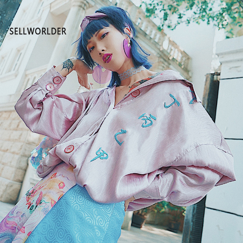 2018 Woman Mix color Chinese Word and Rainbow Unicorn Embroidery Bright Girl's Personality Long Sleeve Blouse Shirt