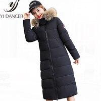 2018 Новый длинным рукавом модные зимние женские теплое пальто с капюшоном меховой воротник Для женщин Европа Америка хлопок Костюмы YZH465