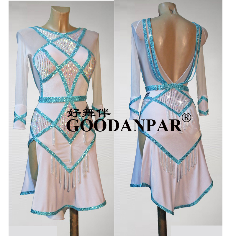 Fringe Latin Dance Dress Latin Sexy Salsa Dress Ballroom Dancng Gown Costume Color White Anc Ligh Blue  Sunflower Dance Dress